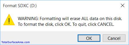 Format Drive Warning