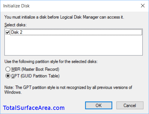 Initialize VHD; Leave Defaults; GPT Better; Select Okay