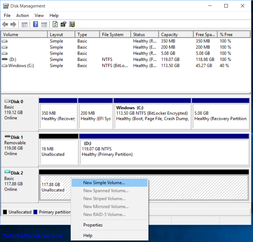 Right-Click On Unallocated Space; Select New Simple Volume