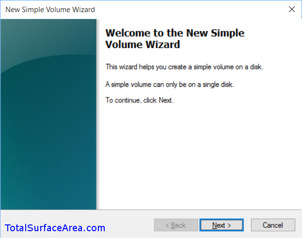 New Simple Volume Wizard; Click Next