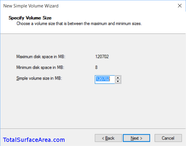 Volume Size; Leave Maximum; Click Next