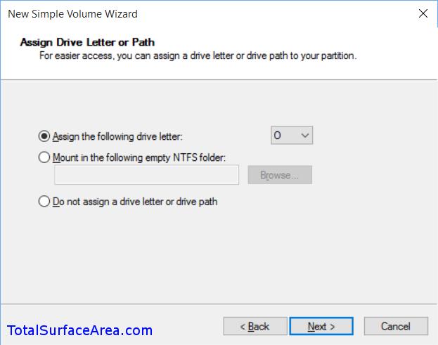 Assign Drive Letter; Click Next