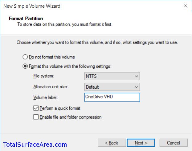 Format; Volume Label; Click Next