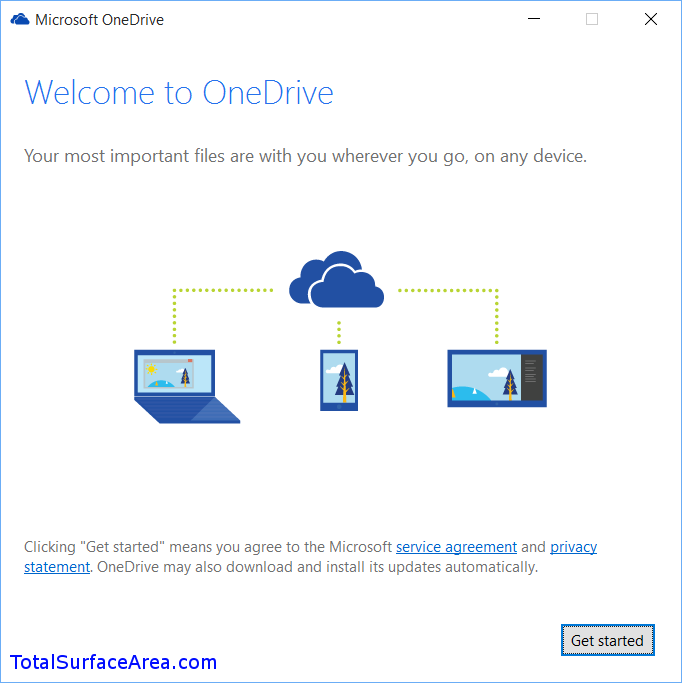 Welcome OneDrive; Click Get started