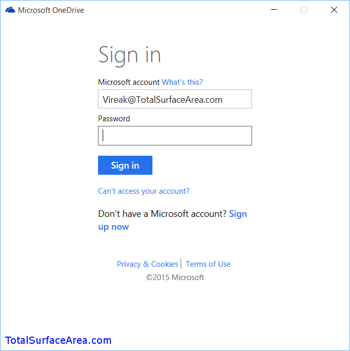 OneDrive Login; Enter Credientials and Sign In