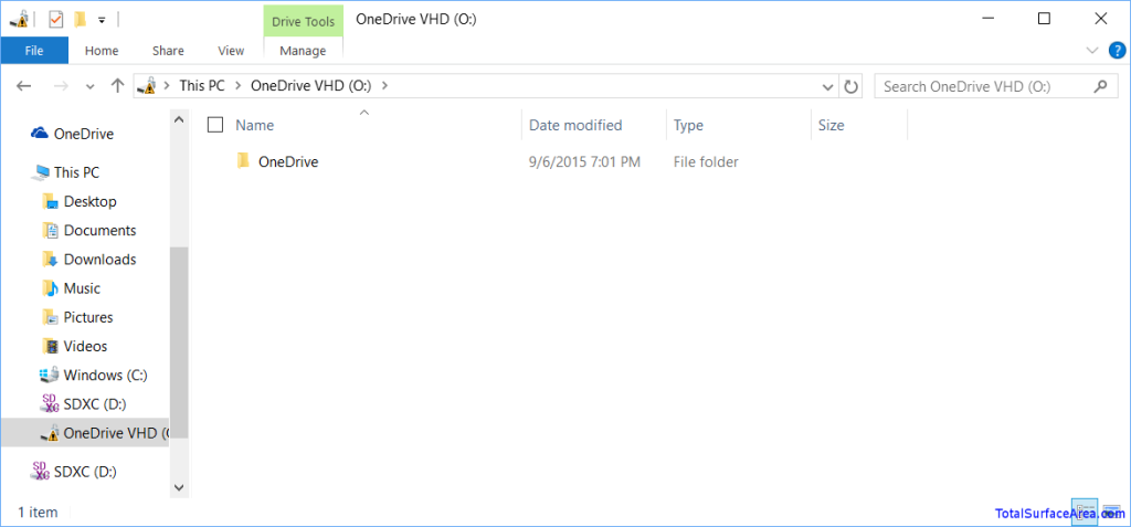 OneDrive VHD Mounted and Launched